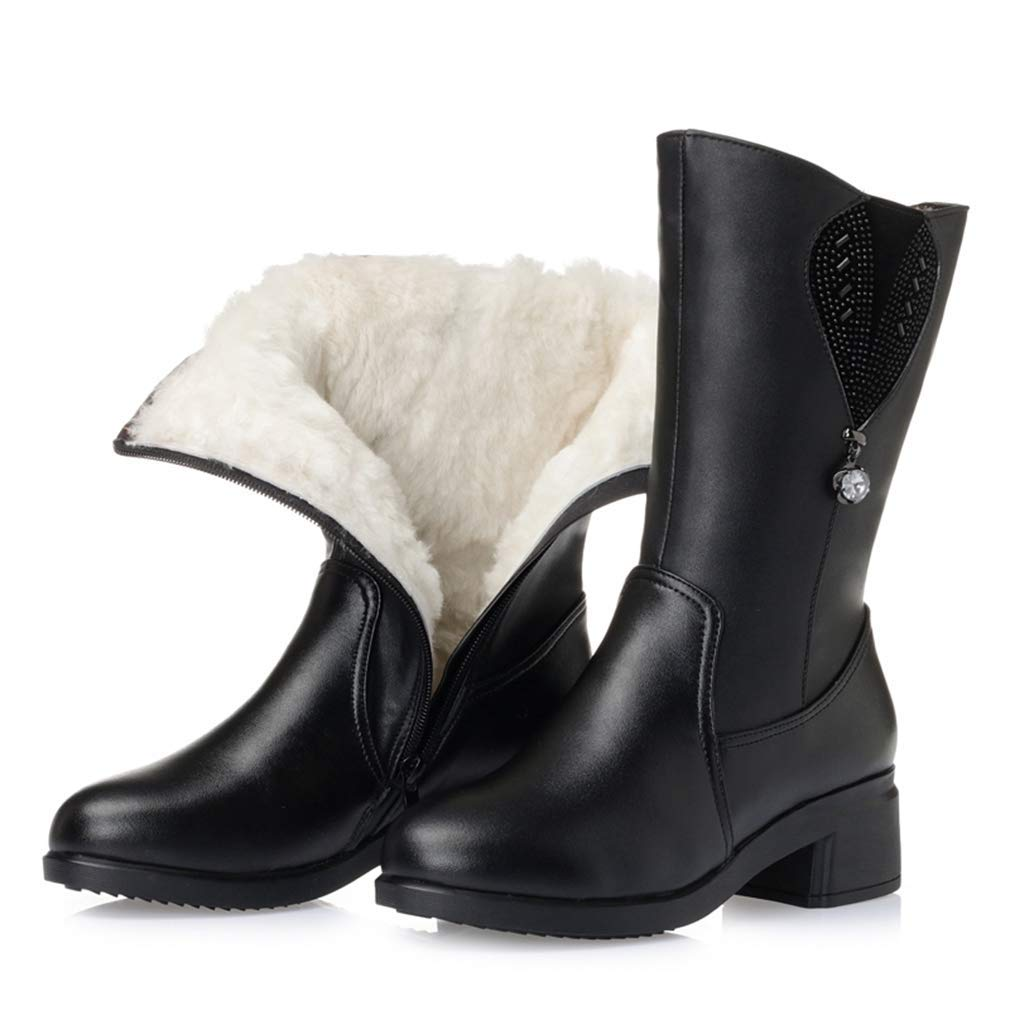 Black With Wool Webb Perkin Women Square Heel Comfort Winter shoes Thick Plush Warm Female Casual Boots Lady Mid Calf Boots