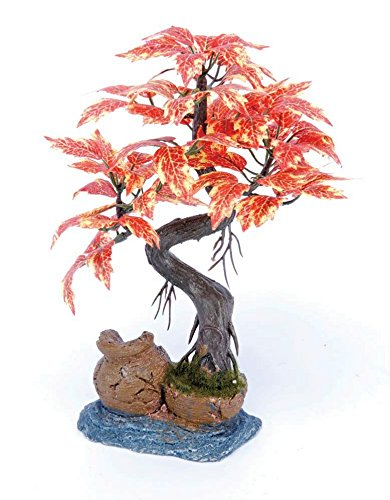 Pennplax Red Bonsai Tree Aquarium Decor, 8-Inch