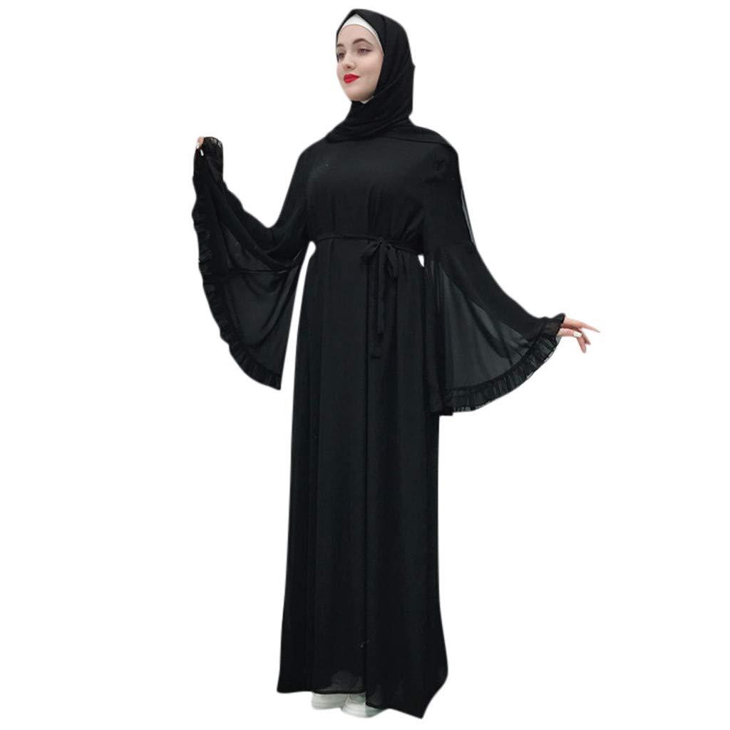 Summer Dresses for Women Miuye Casual Elegant Long Dress Robe Open Muslim Robe Gown Bell Sleeve Swing Dress Black by Miuye-Dress