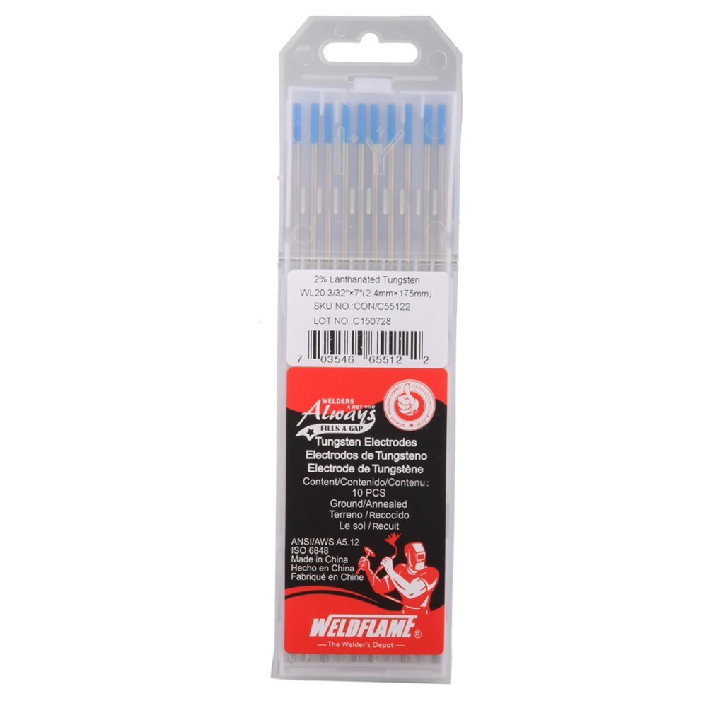 Weldflame Tungsten Electrode WL20 2.0/% Lanthanated 1.6-175mm 1//16-7 Blue