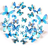FLY SPRAY 24pcs Vivid Blue Butterfly Mural Decor Removable Wall Stickers ...