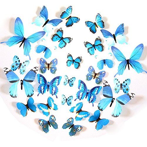FLY SPRAY 24pcs Vivid Blue Butterfly Mural Decor Removable Wall Stickers with Adhesive Decals Nursery Decoration 3D Crafts (Blue Nursery Decor)