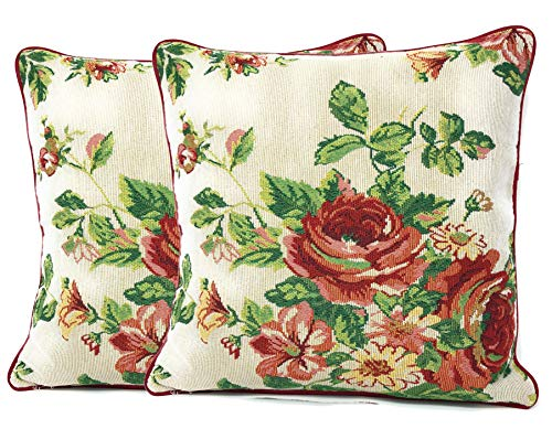 (Tache Sweet Roses Spring Summer Traditional Country Vintage White Red Floral Decorative Woven Tapestry Cushion Throw Pillow Cover, 16 x 16, 2 Pieces)