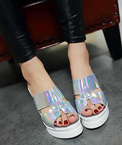 Shoes Sandals Antiskid Silver Wedge On Trendy High Sole Womens Dress Heel Aisun Toe Slip Platform Slide Peep Thick OwAETa7q