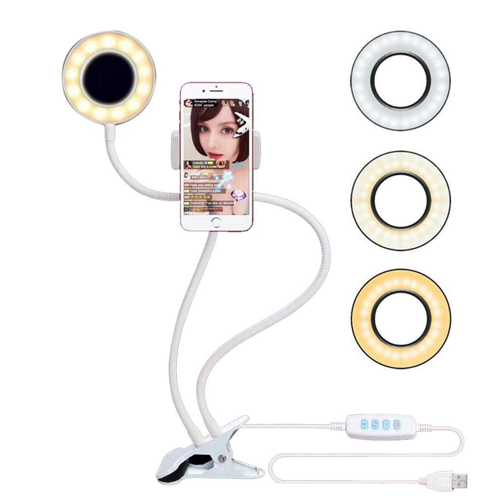 Teepao Selfie Ring Light with Cell Phone Holder, 3rd Gear Stepless Brightness Adjustment Live Video Lighting with Lazy Bracket for Live Broadcast, Live Show, Selfie, Vedio Call, Make Up