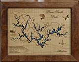 Lewis Smith Lake Alabama: Framed Wood Map Wall Hanging