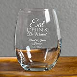 Personalized Eat Drink Be Married 9 Ounce Wine Glass, 72 Count Custom Printed in White, Bride to Be Wedding Reception Surprise