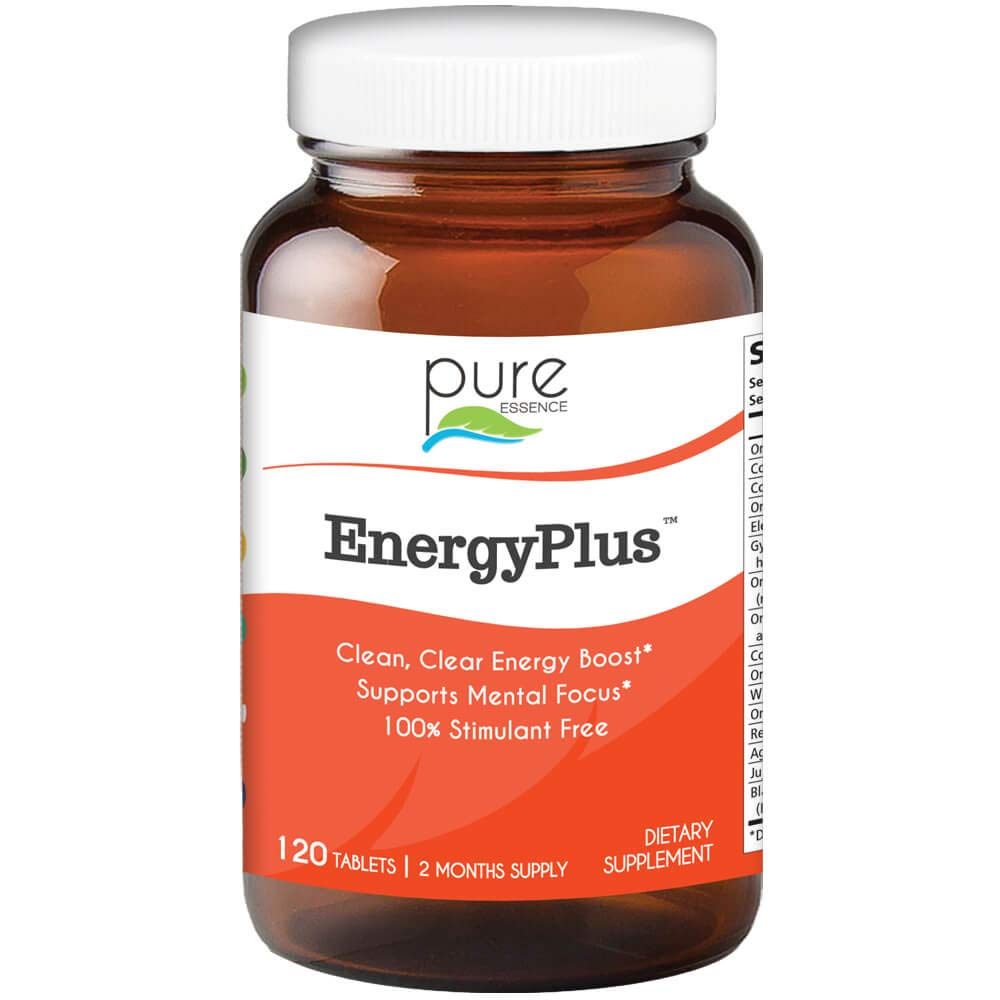 Pure Essence Labs Energy Plus, Caffeine Free, All Natural Herbal Energy and Focus Supplement, 120 Tablets by PURE ESSENCE LABS