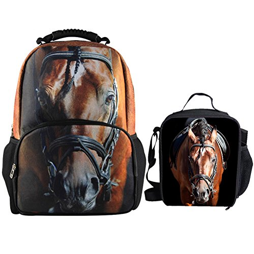 Bigcardesigns Brown Horse Large Backpack School Bag with Lunch Bag for Elementary Kids
