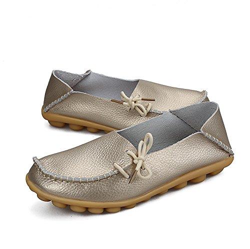 Zapatos Con Agujetas De Mujer De Yixinan Fashion Flats Leather Golden