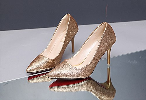 NVXIE Talons hauts simples chaussures grandes tailles paillettes Sexy Nightclubs Fun super talons 34-38 Gold oHcHtx