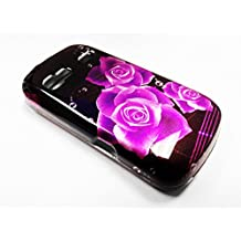 For LG Expression C395c / Xpression C395 Phone Cover Hard Case + Happy Face Phone Dust Plug (Purple Rose)