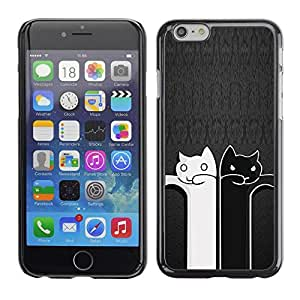 Be Good Phone Accessory // Dura Cáscara cubierta Protectora Caso Carcasa Funda de Protección para Apple Iphone 6 Plus 5.5 // Black And White Cat Grey Minimalist Cute