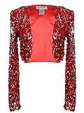 Anna-Kaci Womens Glitter Sequins Long Sleeve Blazers Bolero Shrugs Cropped Jackets