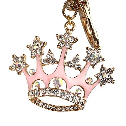 New Arrival Adorable Pink Queen Crown Crystal Big Key Ring Keychain Z639-B]()