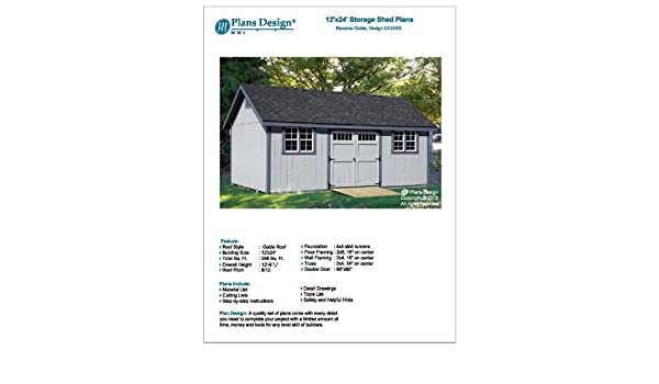 How to Build Guide 12' x 24' Shed Plans, Material List and