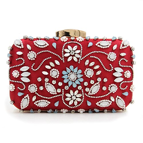Carved Embroidery Dinner Bags Metal Party Rose Red Luxury Clutches Shoulder Lady Evening Colorful Bag Flowers Chain 7zfTxY