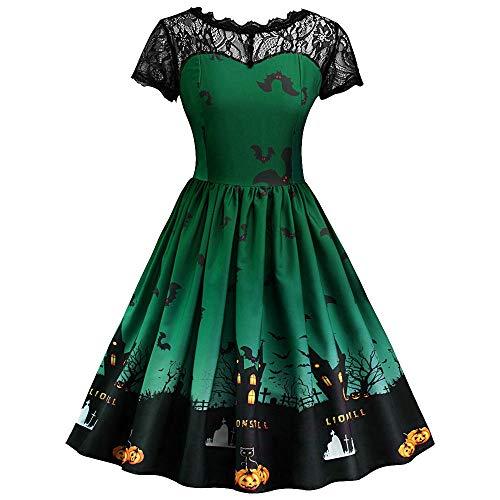 Clearance Halloween Dress, Forthery Women Pumpkin Skull Skater Swing Dress Vintage Elegant A-line Skull ()
