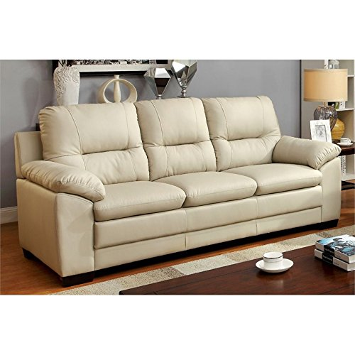 Furniture of America Pallan Leather Tufted Sofa in Ivory