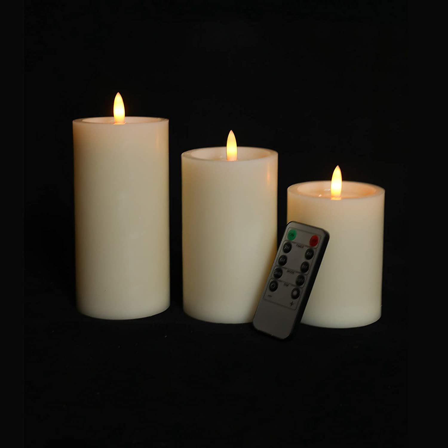 Evenice Flameless Candles Flickering Light Pillar Candles Real Smooth Wax for Gifts and Decoration,Pack of 2,Grey