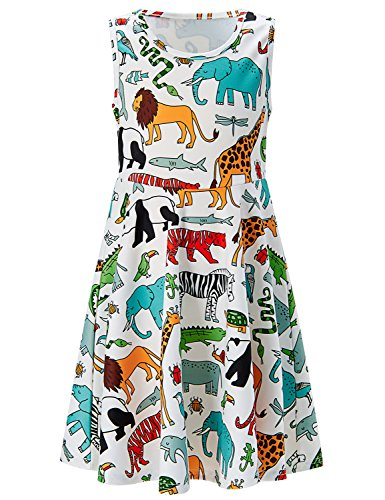 - RAISEVERN Little Girls Dress Elephant Giraffe Printed Sleeveless Sundress for Girls 6-7 Years