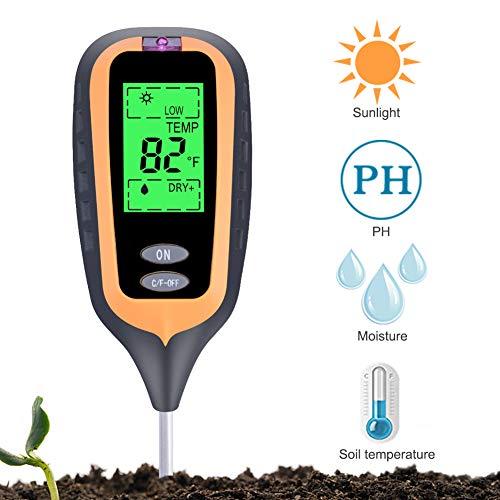 RCYAGO Digital Ph Soil Tester for Garden 4 in 1 Moisture Meter Soil Thermometer Sunlight Plant Soil - Tester Digital Temperature