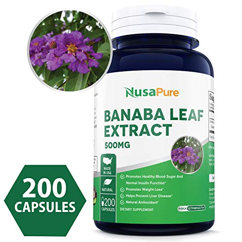 Best Banaba Leaf Extract 500mg 200caps (Non-GMO & Gluten Free) 2% Corosolic Acid - Supports Healthy Blood Sugar Levels, Digestion, and Metabolism - Made in USA - 100% Money Back Guarantee! (Leaf Banaba Extract)