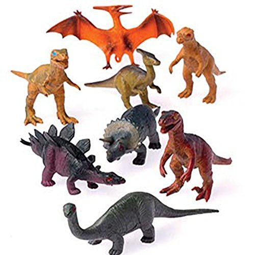 Dinosaur Play Figure Toy (12 - Assorted Medium Sized Plastic Toy Dinosaurs Play set figures.)
