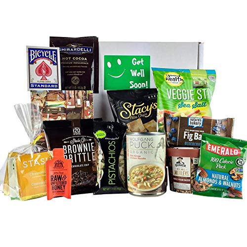 Get Well Gifts for Women, Men. Gourmet Get Well Soon Basket of Tea, Soup, Snacks, Puzzle & More. Send this Prime Get Well Kit, Care Package for Illness, Cold, Flu, Surgery, Recovery. (Bundle of 18) by MooChimp (Image #1)