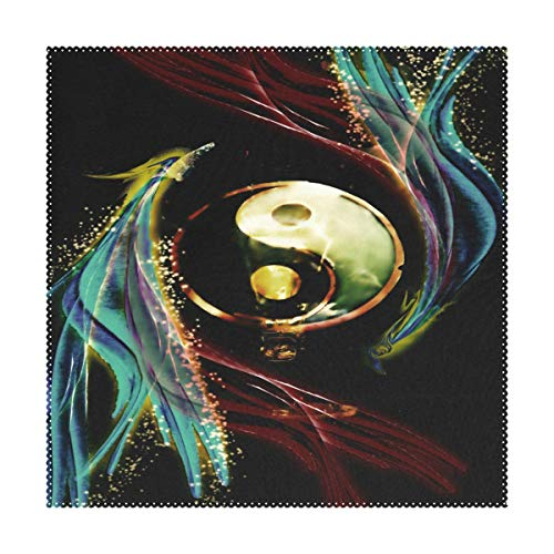 - Placemats Personalized Yin And Yang Gossip Square Place Mats for Dining Table Set Heat Resistant Washable Polyester Kitchen Table Mats 1 piece