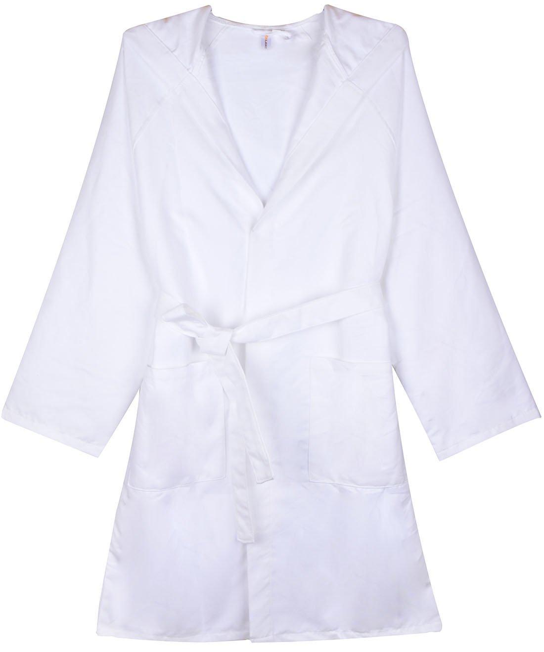 SUNLAND Chamois Microfiber Hooded Bathrobe Unisex Beach Spa Robe L White