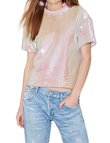 HAOYIHUI Womens Casual Sparkly Sequin Short Sleeve Pullover Blouse Top(L,Pink) by HAOYIHUI