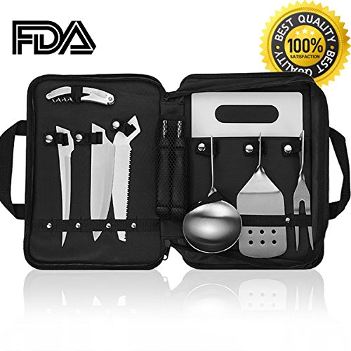 Forest Master Camping Cooking Utensils Organizer Travel Set Portable - Detachable Handle Camp Kitchen Utensils Kit with Waterproof Case,Picnic Backpack BBQ Hiking Outdoor Cookware Utensils by Forest Master