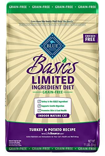 Blue Buffalo Basics Limited Ingredient Diet Grain Free, Natural Indoor Mature Dry Cat Food, Turkey & Potato ()