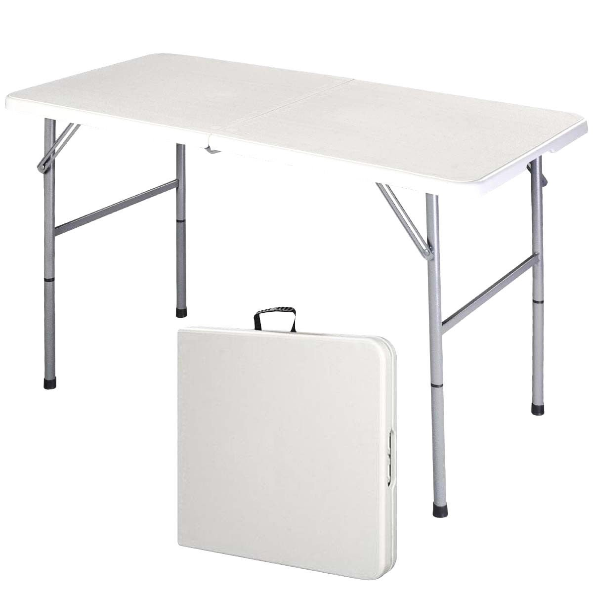 Supremus 4 Ft. Folding Table, Portable, High Utility, Perfect for Indoors, Outdoors, Picnics, Buffet Party, Dining, Camping, Patio Table, 4 Feet