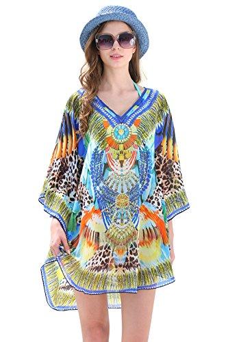 MYPASSA Cover Up for Swimwear Women Summer Leoprd Floral Chiffon Bathing Suit