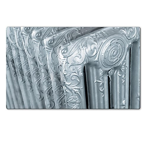 MSD Natural Rubber Large Table Mat 28.4 x 17.7 x 0.2 inches Vintage radiator with decorations and a silver finish IMAGE 30567578 (Radiator Cover Table compare prices)