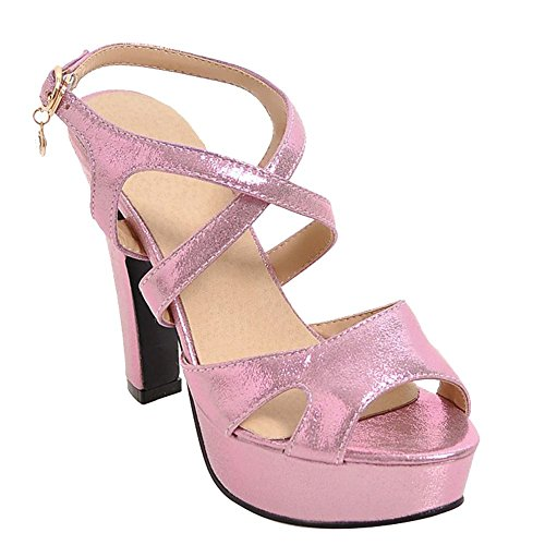 Charm Foot Womens Fashion Open Toe Ankle Strap Buckle High Heel Sandals Pink