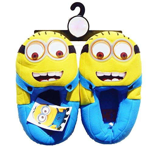 DESPICABLE ME MINIONS MOVIE Plush Googly Eyes Slippers NWT (Youth 4-5)