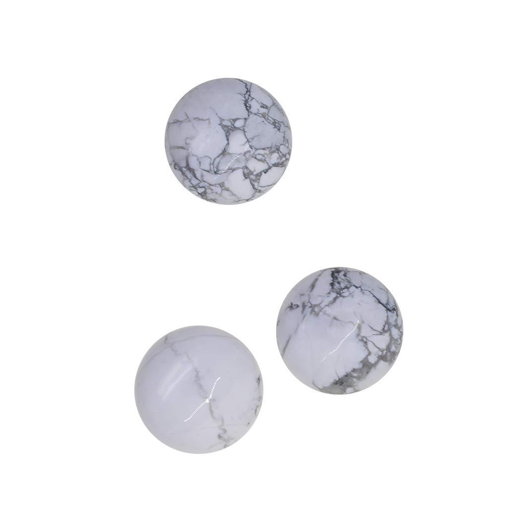 F Fityle 6pcs Piedra Cabuj/ón Redonda de Turquesa Blanca Natural Accesorios Resultados de Joyer/ías Artesan/ía Manual