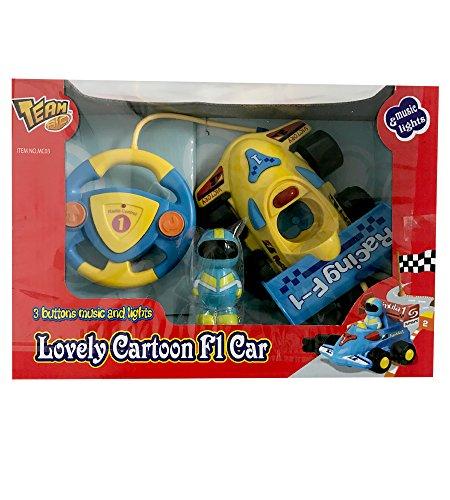 F1 Car Steering Wheel (New In Box - RC Cartoon Formula F1 Race Car Toy - 2CH Remote Control Steering Wheel - Yellow)