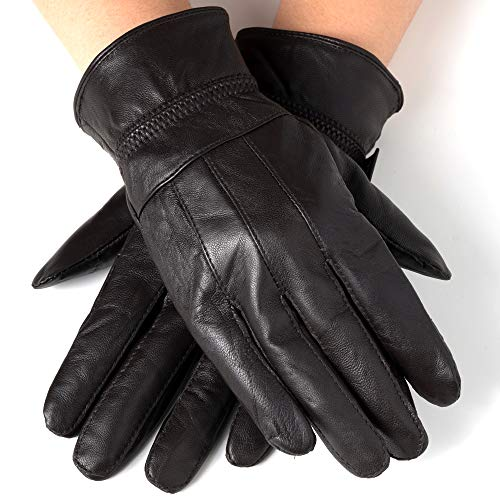 Alpine Swiss Womens Touch Screen Gloves Leather Phone Texting Glove Thermal Warm BRN M ()