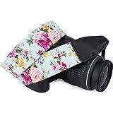 Wolven Pattern Cotton Camera Neck Shoulder Strap Belt Compatible for DSLR/SLR/Men/Women etc, Blue Rose