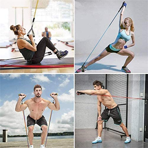 VESKIMER 150LB Resistance Bands Set with Handles, Ankle Straps, Door Anchor and Workout Guide Exercise Bands for Men Women Resistance Training, Home Workouts 8