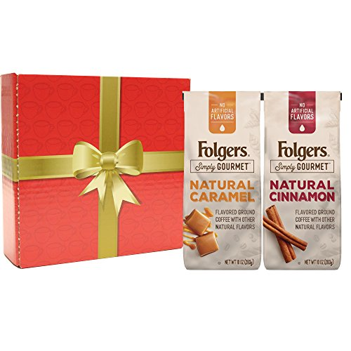 Folgers Simply Gourmet Naturally Flavored Coffee, Variety Pack of 2, (Natural Cinnamon Flavored Coffee 10 Bag and Natural Caramel Flavored Coffee 10 oz Bag), Gift Box Set (Cinnamon Gift)