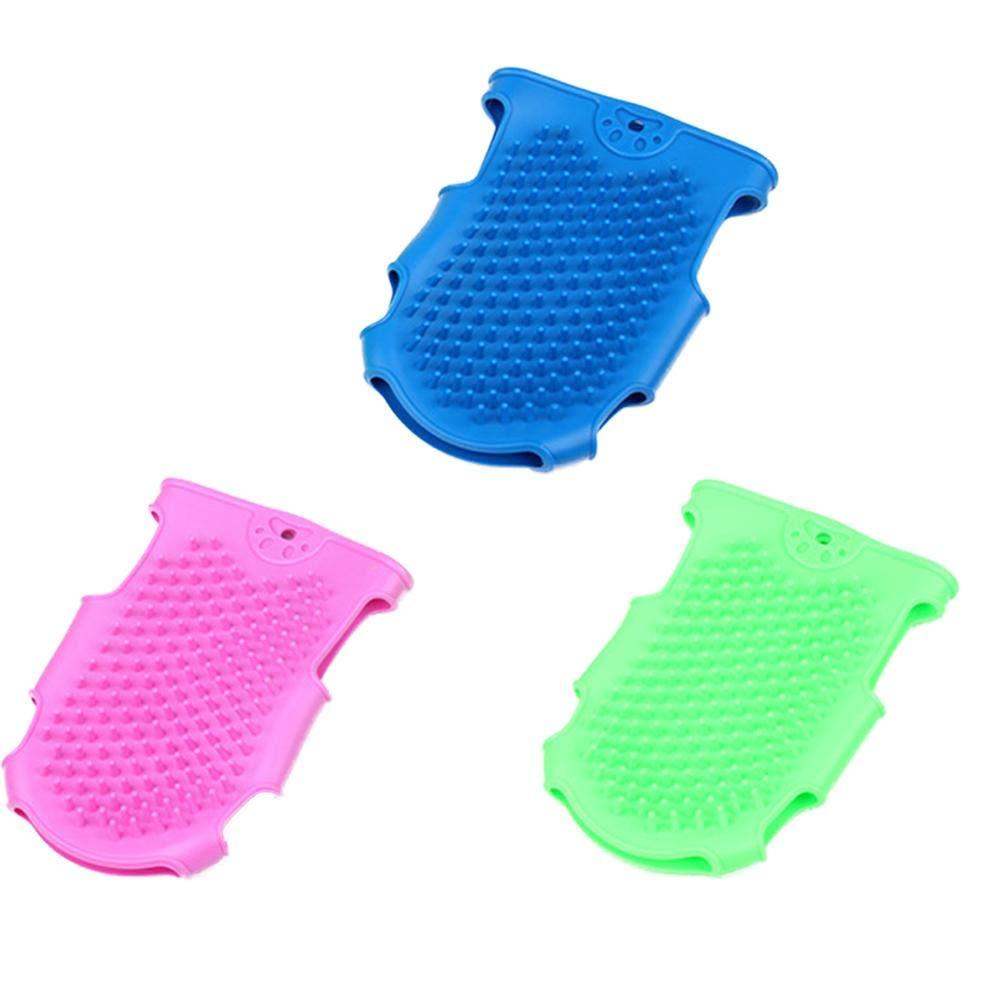 Spazzola per guanti per toelettatura per animali domestici Guanti per mobili Spazzola per massaggi per bagno in silicone per cani per cani Spazzola per massaggi per cani da gatto (Colore casuale)