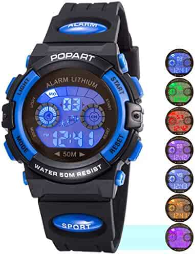 Kid Watch for Child Boy Girl LED Multi Function Sport Outdoor Digital Dress Waterproof Alarm Blue