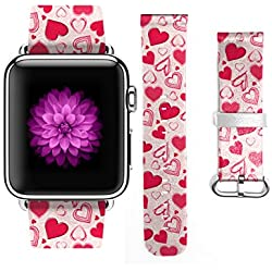 Apple Watch Band 42mm For Girls Genuine Leather Strap Wrist Band Replacement for Apple Watch Romantic Sweet Hearts