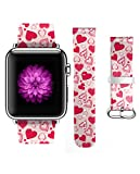 Apple Watch Band 38mm For Girls Genuine Leather Strap Wrist Band Replacement for Apple Watch Romantic Sweet Hearts