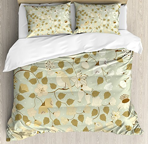 Ambesonne Floral Duvet Cover Set, Vintage Retro Swirls Ivy Flowers Birds of Romantic Era, Decorative 3 Piece Bedding Set with 2 Pillow Shams, King Size, Pistachio Green Khaki and White